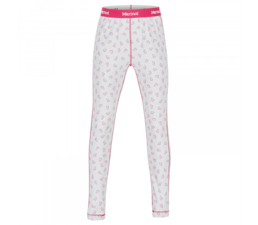 Pantaloni First Layer Copii Marmot Girl's Midweight Meghan Tight Disco Pink Ditzy Marmot (Alb)