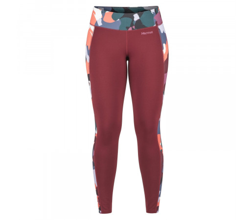 Pantaloni First Layer Femei Marmot Midweight Meghan Tight Claret/Multi Pop Camo (Visiniu)