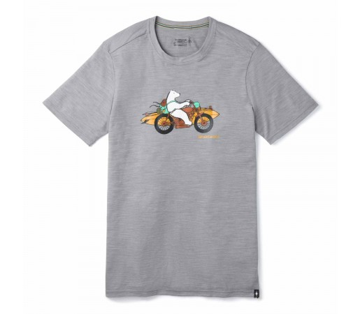 Tricou Barbati Drumetie Smartwool Merino Sport 150 Motor Bear T Light Gray Heather (Gri)