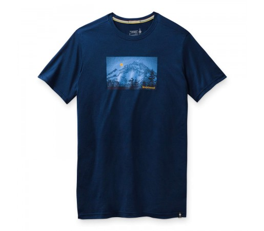 Tricou Drumetie Barbati Smartwool Merino Sport 150 Mount Hood Moon Graphic Tee Bleumarin