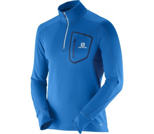Bluza Salomon Trail Runner Warm LS Zip Albastru