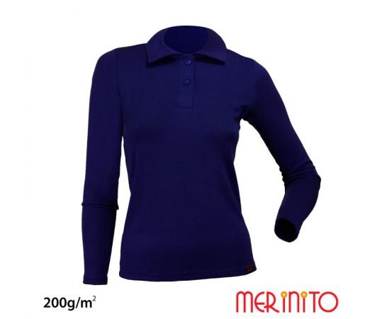 Bluza polo Dama Merinito Albastra