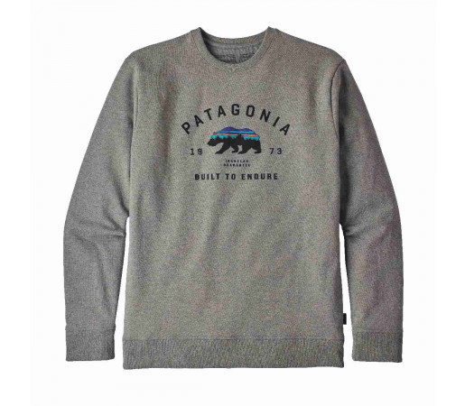 Bluza Barbati Patagonia Arched Fitz Roy Bear Uprisal Crew Sweatshirt Gravel Heather  (Gri)