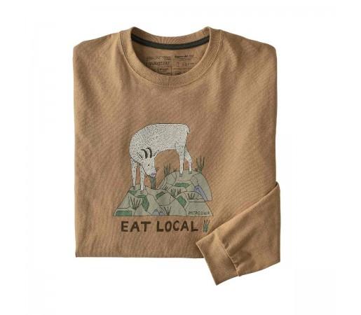 Bluza Barbati Patagonia L/S Eat Local Goat Responsibili-Tee Bearfoot Tan  (Maro)
