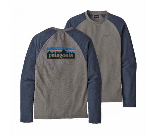 Bluza Barbati Patagonia P-6 Logo LW Crew Sweatshirt Feather Grey w/Dolomite Blue  (Gri)
