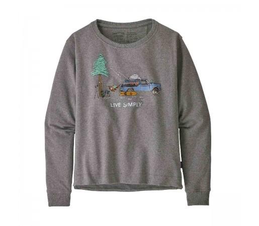 Bluza Femei Patagonia Live Simply Lounger Uprisal Crew Sweatshirt Gravel Heather w/Snow  (Gri)