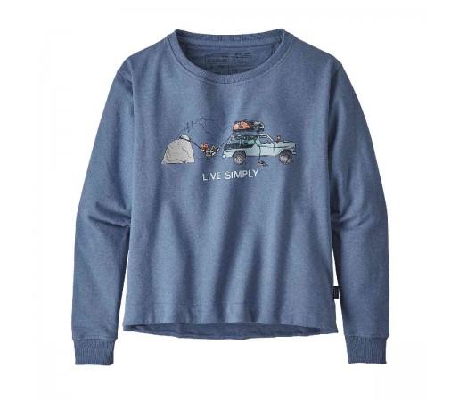 Bluza Femei Patagonia Live Simply Lounger Uprisal Crew Sweatshirt Woolly Blue w/Climb  (Albastru)