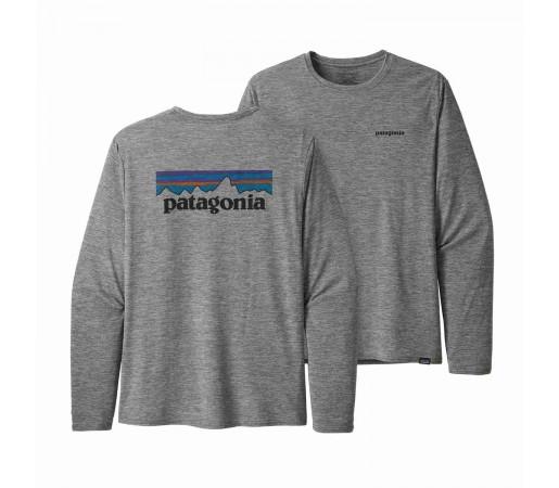 Bluza Drumetie Barbati Patagonia L/S Capilene Cool Daily Graphic Shirt P-6 Logo Feather Grey (Gri)