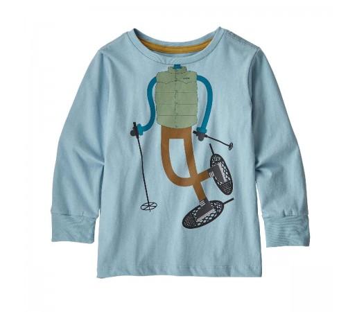 Bluza Copii 0-5 ani Patagonia Baby L/S Graphic Organic T-Shirt Big Sky Blue (Albastru)