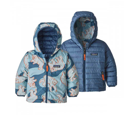 Geaca Puf Reversibila Copii 0-5 ani Patagonia Baby Reversible Down Sweater Hoody Polar Bears Play / Woolly Blue (Multicolor)