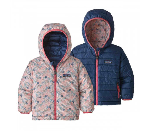 Geaca Puf Reversibila Copii 0-5 ani Patagonia Baby Reversible Down Sweater Hoody Woodland Floral / Prima Pink (Multicolor)