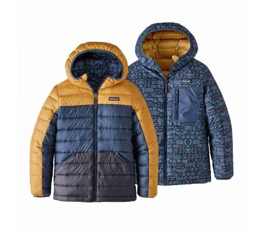 Geaca Puf Reversibila Copii 5-14 ani Patagonia Boys' Reversible Down Sweater Hoody Glyph Gold (Galben)
