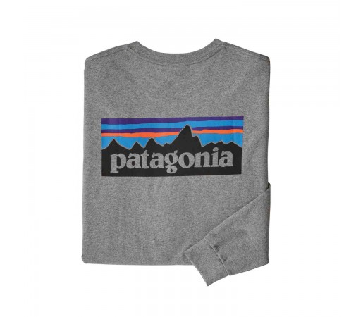Bluza Barbati Patagonia L/S P-6 Logo Responsibili-Tee Gravel Heather (Gri)