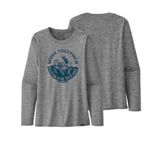 Bluza Drumetie Femei Patagonia L/S Capilene Cool Daily Graphic Shirt Gri