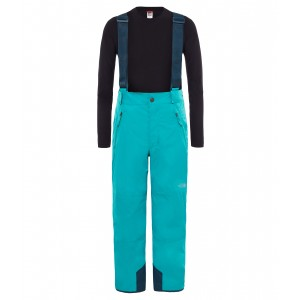 Pantaloni Juniori Ski si Snowboard The North Face Snowquest Suspender Plus Turcoaz