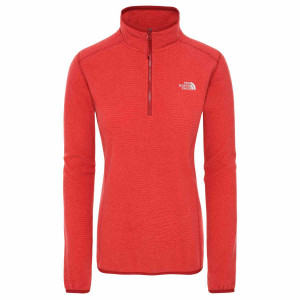Polar Drumetie Femei The North Face 100 Glacier 1/4 Zip Cardinal Red/Juicy Red Stripe (Rosu)