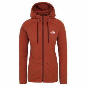 Hanorac Femei The North Face Mezzaluna Full Zip Hoodie Picante Red Stripe (Rosu)