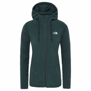 Hanorac Femei The North Face Mezzaluna Full Zip Hoodie Ponderosa Green Stripe (Verde)