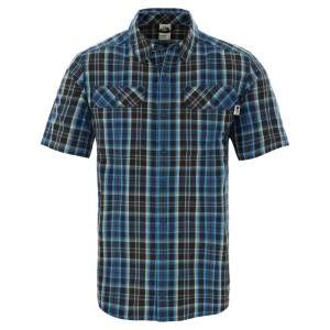 Camasa Drumetie Barbati The North Face M Short Sleeve Pine Knot Shirt-EU Blue Wing Teal Plaid (Bleumarin)