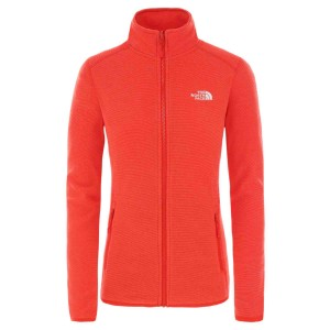 Polar Drumetie Femei The North Face W 100 Glacier Full Zip-EU Cayenne Red (Rosu)