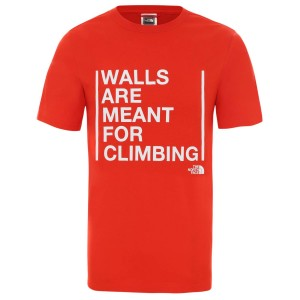 Tricou Drumetie Barbati The North Face M Short Sleeve Walls Are For Climbing Tee-EU Fiery Red (Rosu)