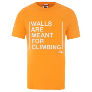 Tricou Drumetie Barbati The North Face M Short Sleeve Walls Are For Climbing Tee-EU Flame Orange (Portocaliu)