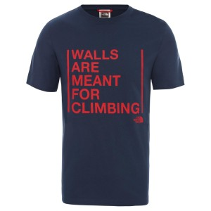 Tricou Drumetie Barbati The North Face M Short Sleeve Walls Are For Climbing Tee-EU Blue Wing Teal (Bleumarin)