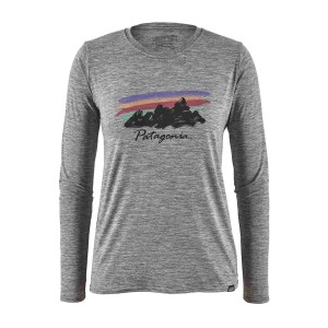 Bluza Drumetie Femei Patagonia L/S Capilene Cool Daily Graphic Shirt Free Hand Fitz Roy: Feather Grey (Gri)