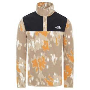 Polar Drumetie Barbati The North Face M Tka Glacier Snap-Neck Pull Over Hawthorne Khaki Abstract Ikat Print/Tnf Black (Multicolor)