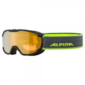Ochelari Ski Si Snowboard Copii Alpina Pheos Jr HM Black-Neon/Gold Negru