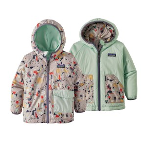 Geaca Copii Hiking Patagonia Reversible Puff-Ball Roz / Verde
