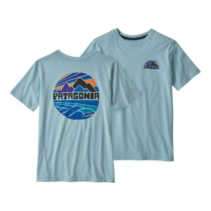 Tricou Drumetie Copii Patagonia Boys' Graphic Organic T-Shirt Fitz Roy Rights: Big Sky Blue (Albastru)
