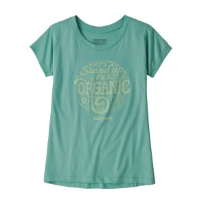 Tricou Drumetie Copii Patagonia Girls' Graphic Organic T-Shirt Light Beryl Green (Verde)