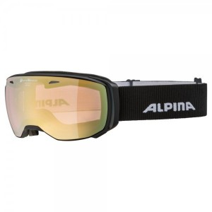 Ochelari Ski Si Snowboard Unisex Alpina Estetica QVM Black Matt/Lightgold Saphire Negru