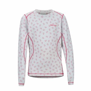 Bluza First Layer Copii Marmot Girl's Midweight Meghan Crew Disco Pink Ditzy Marmot (Alb)