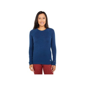 Bluza First Layer Femei Smartwool Merino 250 Base Layer Crew Boxed Alpine Blue Heather (Albastru)