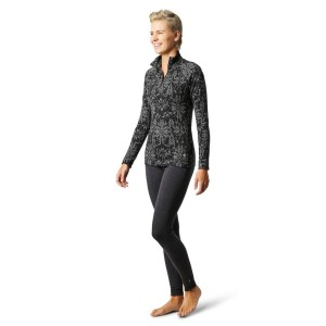 Bluza First Layer Femei Smartwool Merino 250 Base Layer Pattern 1/4 Zip Boxed Black Digital Snowflake (Negru)