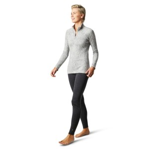 Bluza First Layer Femei Smartwool Merino 250 Base Layer Pattern 1/4 Zip Boxed Light Gray Traced Dahlia (Gri)