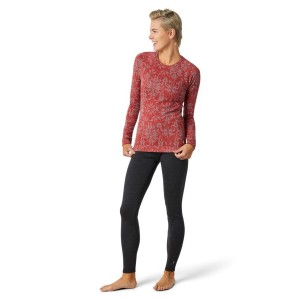 Bluza First Layer Femei Smartwool Merino 250 Base Layer Pattern Crew Boxed Masala Digital Snowflake (Roz)