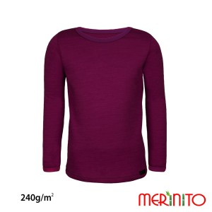 Bluza Copii Merinito 240G Lana Merinos Si Bambus Mov