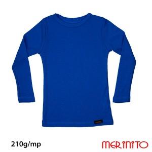 Bluza Copii Merinito Rib Pointelle 100% Lana Merinos Albastru