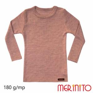 Bluza Copii Merinito Rib Pointelle 100% Lana Merinos Roz