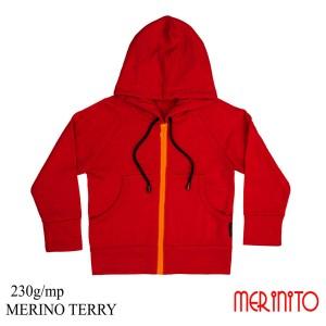 Hanorac Copii Merinito French Terry 100% Lana Merinos Rosu