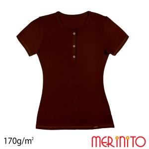 Tricou Femei Merinito Buttons 170G 100% Lana Merinos Grena
