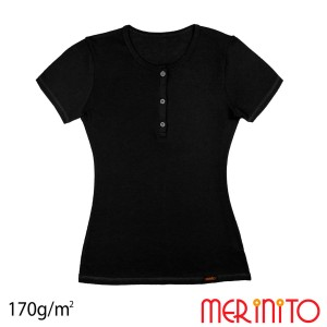 Tricou Femei Merinito Buttons 170G 100% Lana Merinos Negru
