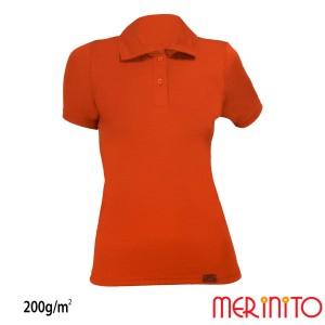 Tricou Femei Merinito Polo Jersey 200G 100% Lana Merinos Portocaliu