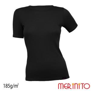 Tricou Femei Merinito 185G 100% Lana Merinos Negru