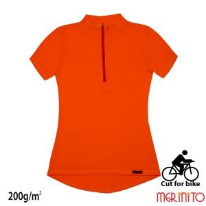 Tricou Femei Merinito Cut For Bike 200G 100% Lana Merinos Portocaliu