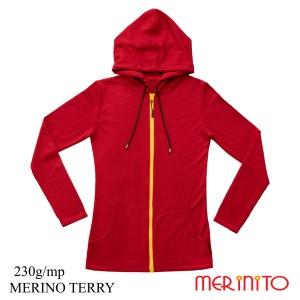 Hanorac Femei Merinito Merinos Terry 230G 100% Lana Merinos Rosu