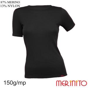 Tricou Femei Merinito 150G 87% Lana Merinos 13% Nylon Negru